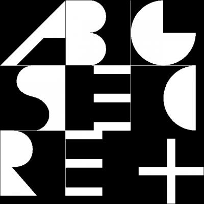 Квадратная цементная плитка ручной работы от Luxemix. Черно-белый алфавит.