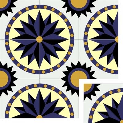 Узорная цементная плитка Luxemix ручной работы. Арт.: est_09c1