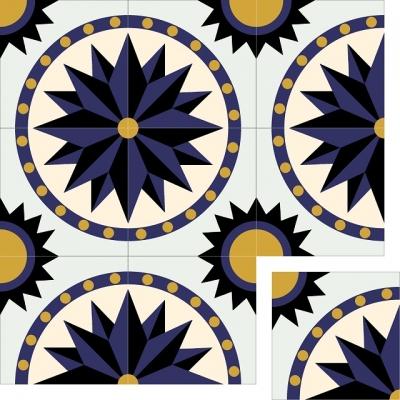 Цементная плитка ручной работы Luxemix с рисунком Солнце. Арт.: est_09c2