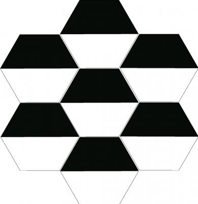 """Шестиугольная цементная плитка ручной работы от Luxemix с узором """"Трапеция"""" (Halfhex)"""