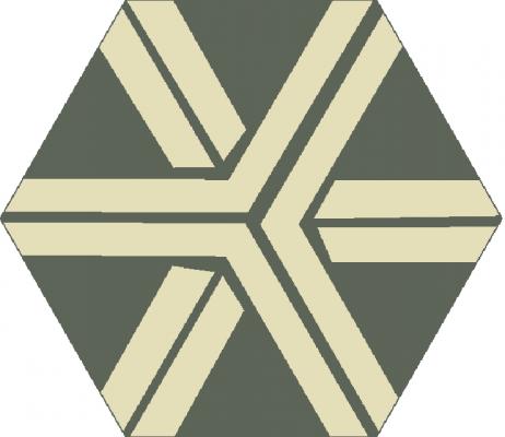 """Шестиугольная (шестигранная) цементная плитка Luxemix ручной работы с узором """"Магистраль"""" (Highway)"""