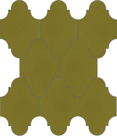 """Плитка Luxemix ручной работы в форме """"Фонарик"""". Цвет горчичный, желто-зеленый, карри желтый ral 1027."""