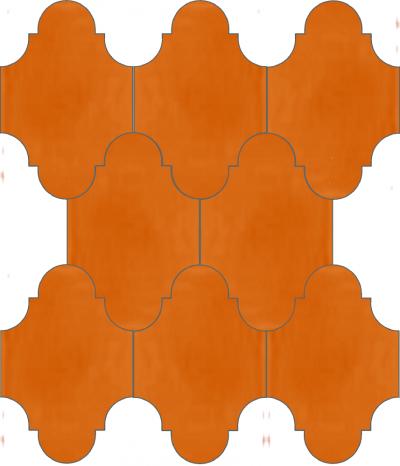 """Плитка Luxemix ручной работы в форме """"Фонарик"""". Цвет оранжевый, апельсиновый, насыщенный оранжевый ral 2011."""
