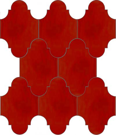 """Плитка Luxemix ручной работы в форме """"Фонарик"""". Цвет красный, транспортный красный ral 3020."""