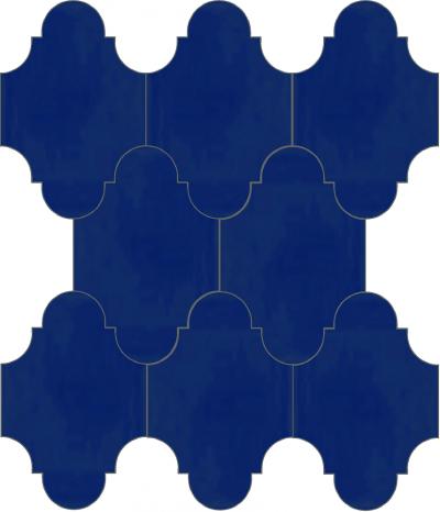 """Плитка Luxemix ручной работы в форме """"Фонарик"""". Цвет синий, глубокий синий, темно-синий, ультрамариновый, ультрамариново-синий ral 5002."""