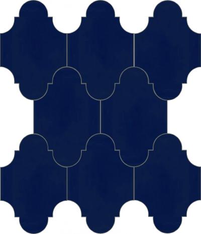"""Плитка Luxemix ручной работы в форме """"Фонарик"""". Цвет синий, темно-синий, сапфирово-синий ral 5003."""