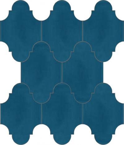 """Плитка Luxemix ручной работы в форме """"Фонарик"""". Цвет синий, пыльно-синий, горечавково-синий ral 5010."""