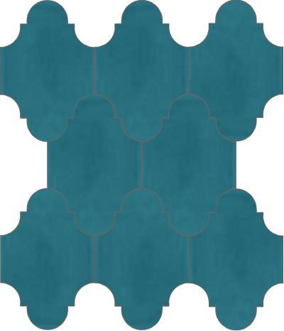 """Плитка Luxemix ручной работы в форме """"Фонарик"""". Цвет сине-зеленый, цвет морской волны, бирюзово-синий ral 5018."""