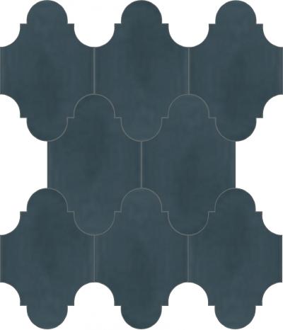 """Плитка Luxemix ручной работы в форме """"Фонарик"""". Цвет холодный синий, сине-серый ral 7031."""