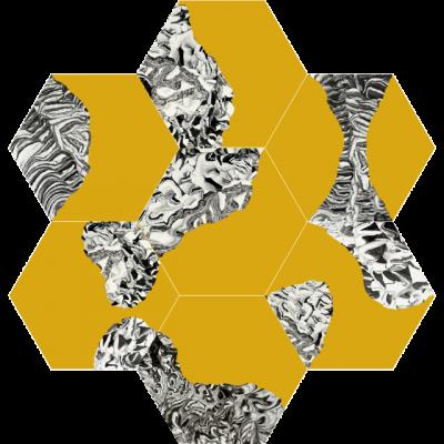 Шестиугольная (шестигранная) цементная плитка Luxemix ручной работы. Коллекция New Horizons. Желтый цвет.