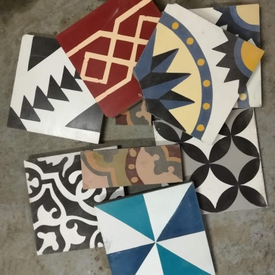 Бой из квадратной цементной плитки ручной работы Luxemix