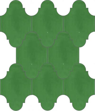 """Плитка Luxemix ручной работы в форме """"Фонарик"""". Цвет зеленый, изумрудно-зеленый ral 1305040."""