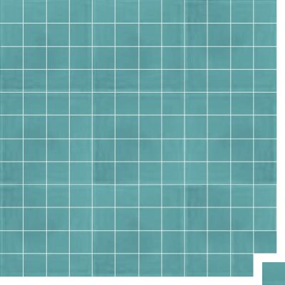 Моноцветная цементная плитка Luxemix формата 5x5см. Цвет 6034 (бирюзовый).