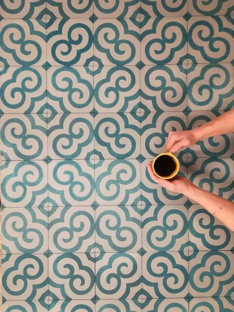 """Квадратная цементная плитка с этническим рисунком """"Спираль"""" (Spiral). Коллекция Etnico (etn_19c1)"""