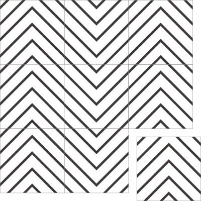 """Квадратная цементная плитка ручной работы от Luxemix с узором """"Гусиный глаз"""" (Goose-eye, Labyrinth, Лабиринт)."""