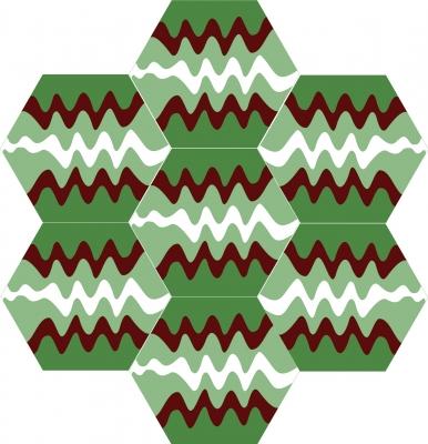"""Шестиугольная (шестигранная) цементная плитка Luxemix ручной работы с узором """"Волны"""" (Waves)"""
