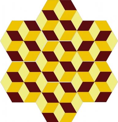 """Шестиугольная цементная плитка ручной работы от Luxemix с узором """"Minicube"""""""