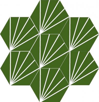 """Шестигранная (шестиугольная) цементная плитка ручной работы от Luxemix с узором """"Одуванчик"""" (Dandelion, Лучи, Rays, Lines)."""