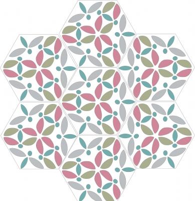 """Шестиугольная цементная плитка ручной работы от Luxemix с узором """"Vesna"""""""