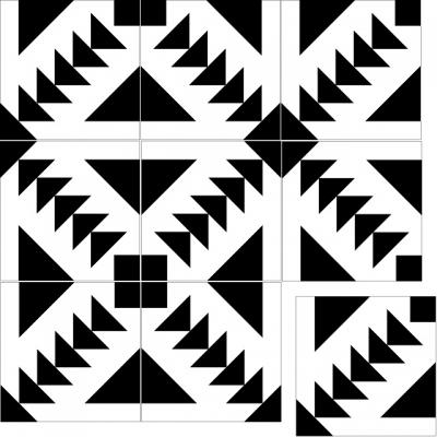 """Квадратная цементная плитка ручной работы от Luxemix с узором """"Wayfair"""" (Путь, Стрелки, Arrow). Арт.: Mod_16. Коллекция: Modern."""