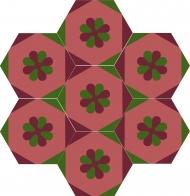 """Шестиугольная цементная плитка ручной работы от Luxemix с узором """"Flower in the cell"""""""